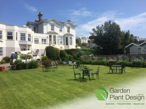 View of the lawn at The Grosvenor Hotel Torquay