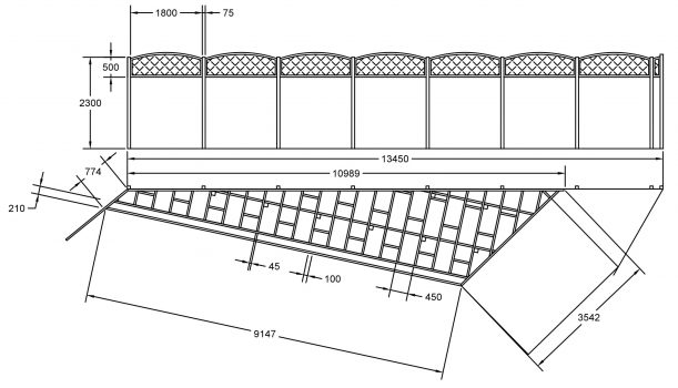 plan to scale of decking and fence in torquay