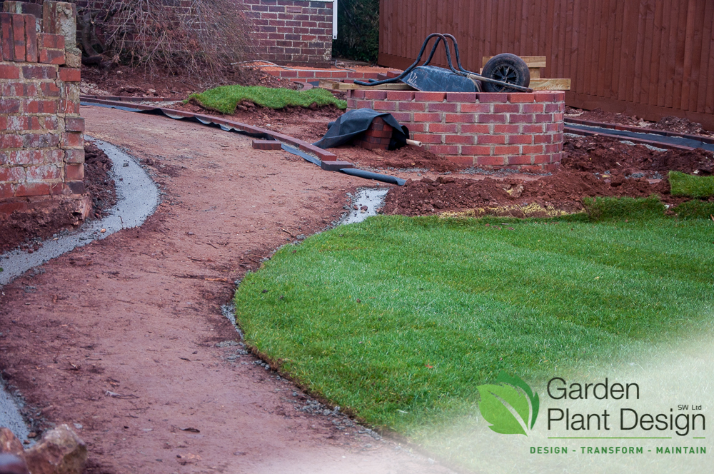 Pathway setting out and turf
