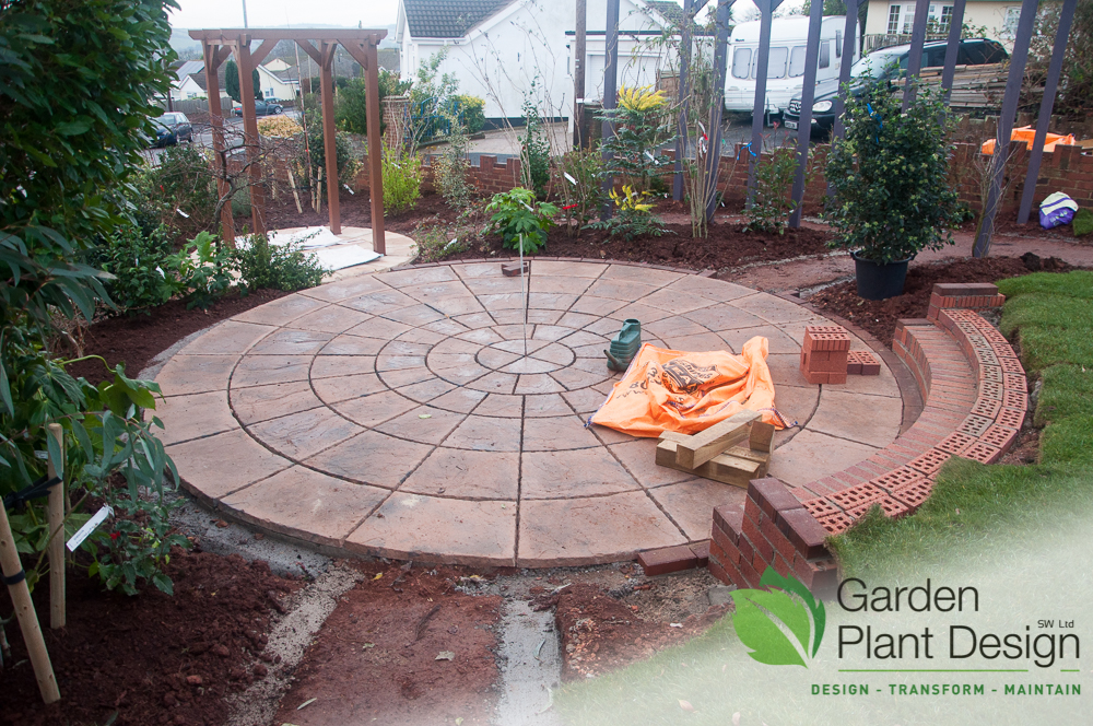 Large circular patio area